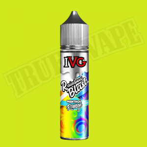 Rainbow Blast shortfill e-liquid by IVG Menthol is a tropical fruit medley with an icy effect. The mixture of ripe-tasting strawberry, juicy orange and zesty lemon are balanced out by a mint kick for a complex eliquid.buy now@true-vape.com