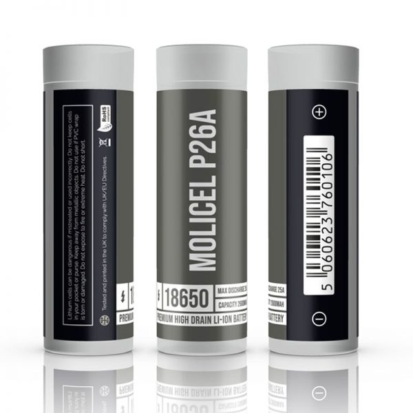 molicel p26a-18650-batteryThe MoliCel P26A is a 18650 vape battery, designed to offer users a balance between power and capacity it features a 2600mAh capacity and a 25A continuous discharge