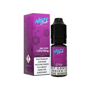 ASAP Grape nicotine salt e-liquid blends ripe-tasting black grapes with sweet mixed berries and low mint to create a cool inhale and exhale alike.