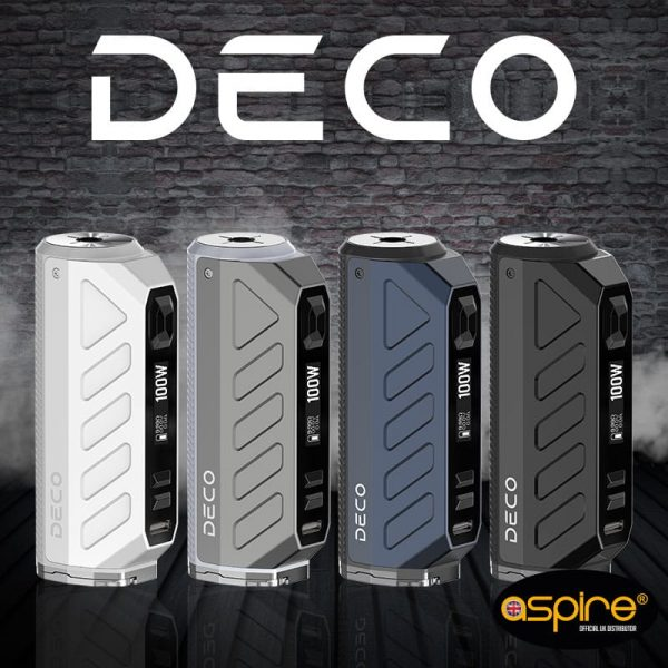 The Aspire Deco vape mod is a pocket-friendly sub ohm vape mod intended for intermediate or advanced users. Powered by either a single 18650 or 21700 vape battery (sold separately), this sleek device boasts a range of customisable output modes and is capable of a 100W max output. With a 510 connection point, the Deco can be paired with the majority of vape tanks and is ideal for vaping on the go.buy now@true-vape.com