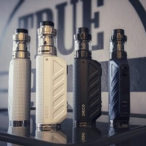 The Aspire Deco vape kit is a reliable sub ohm kit that's recommended for intermediate and experienced vapers. Powered by your choice of either a 18650 or 21700 vape battery (sold separately) it's capable of a 100W max output. Each kit comes complete with the Odan EVO tank.buy now@true-vape.com